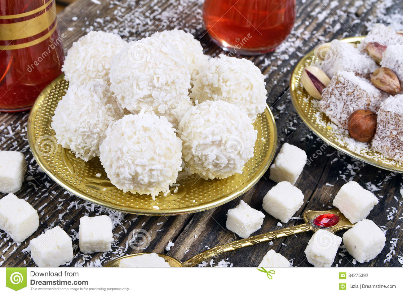 Coconut candy and turkish delight
