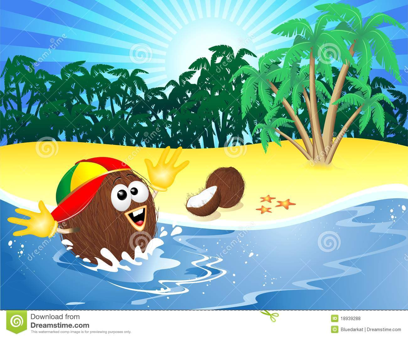 Coconut Cartoon Playing On Tropical Beach Royalty Free