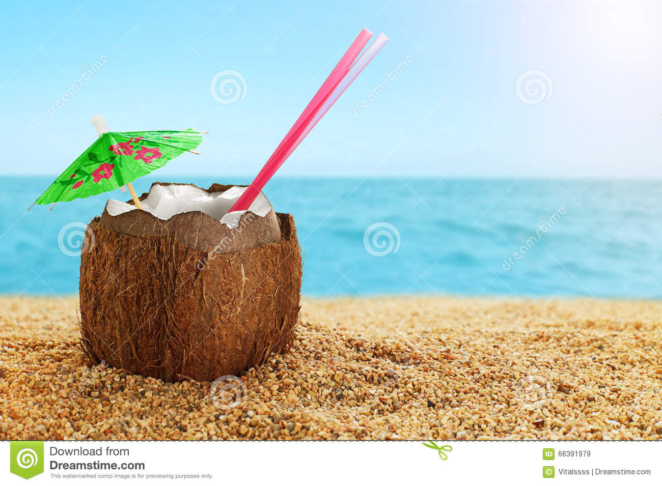 Coconut Cocktail At The Beach