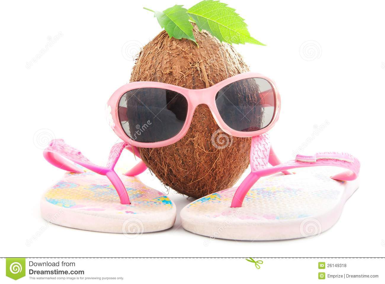 31ab527dc1954 Coconut concept with sunglasses and beachwear royalty free stock photos