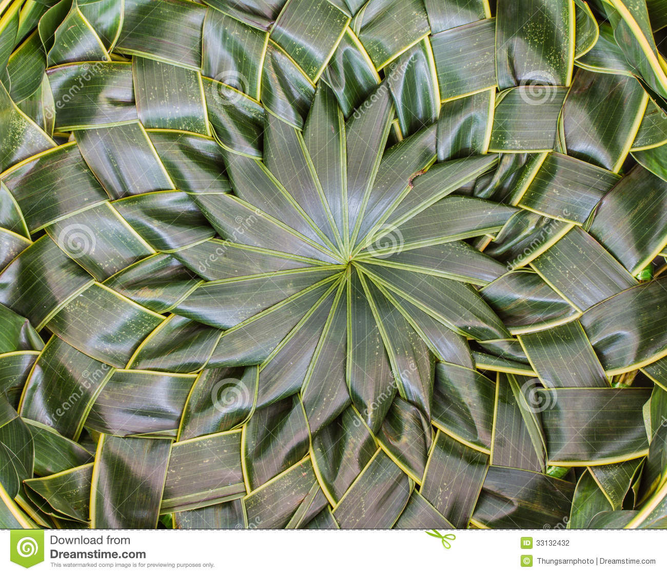 Basket Weaving With Leaves : Coconut leaves woven stock photography image