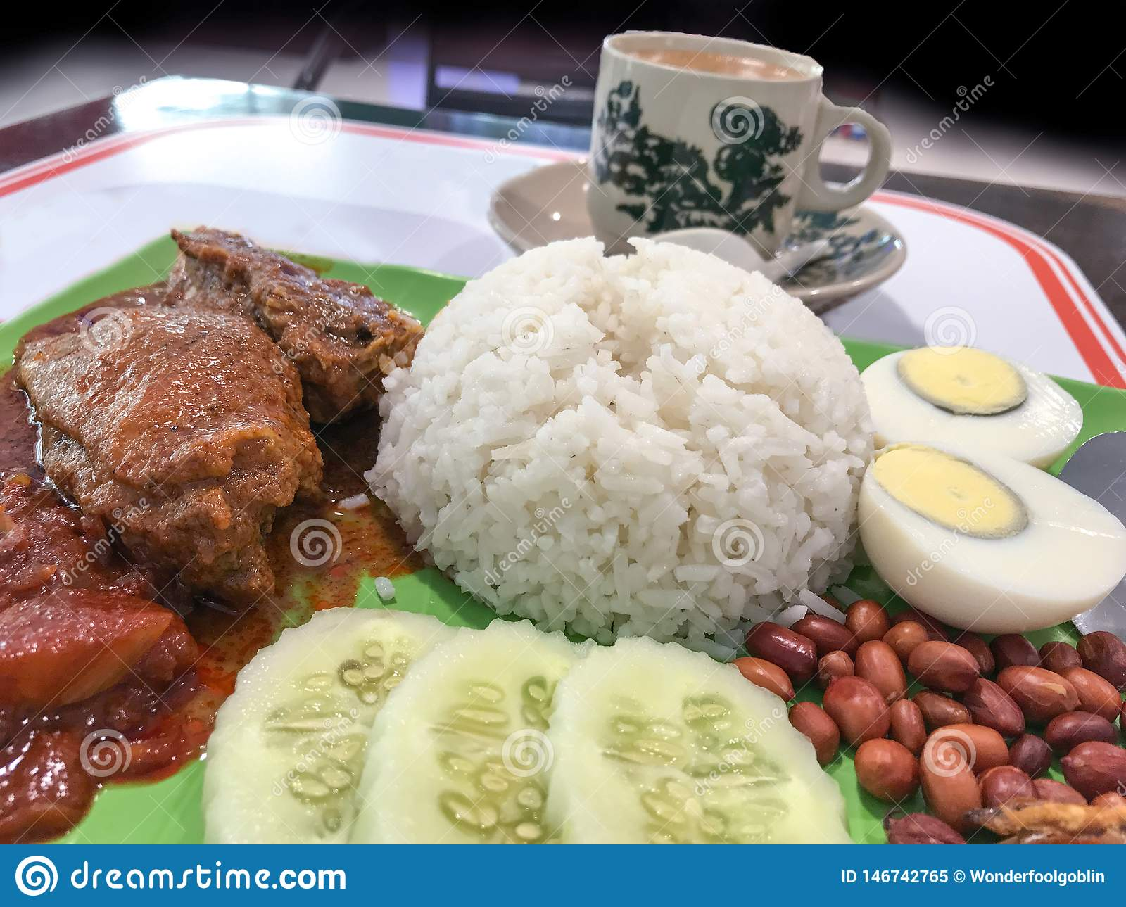 Coconut milk rice Nasi lemak with coffee