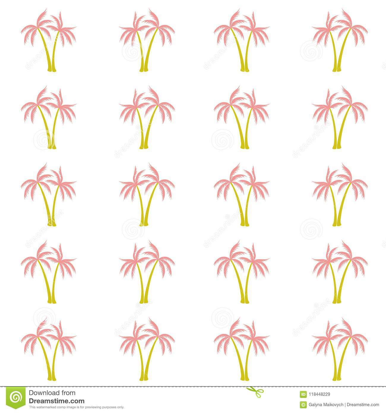 Coconut Palm Tree Pattern Textile Material Tropical Forest