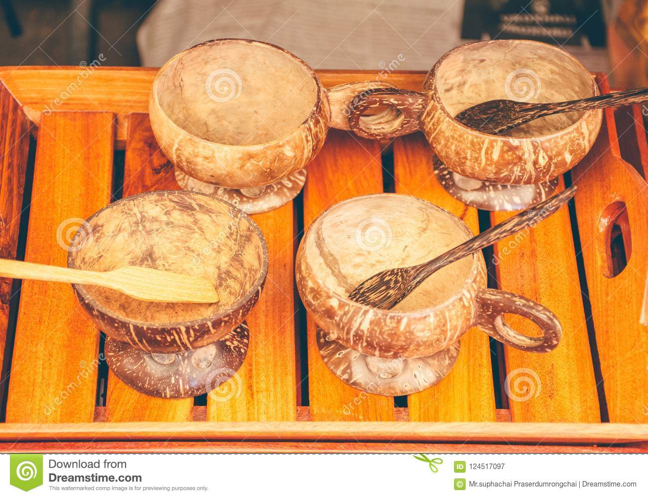 Coconut Shell Craft Cups Spoons Bowl Stock Image Image Of