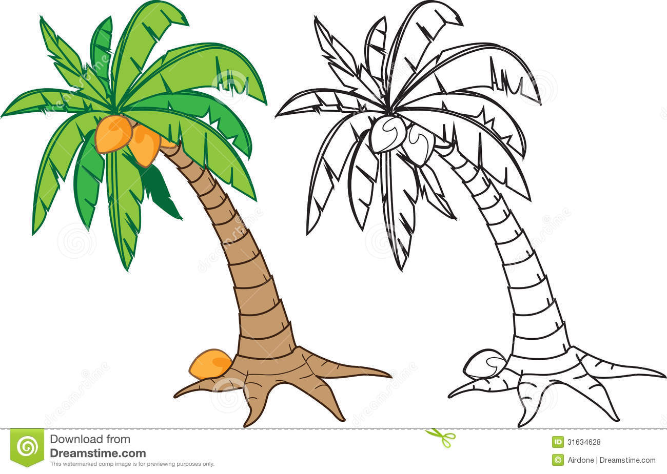Coconut tree stock vector. Illustration of warm, drawing ...