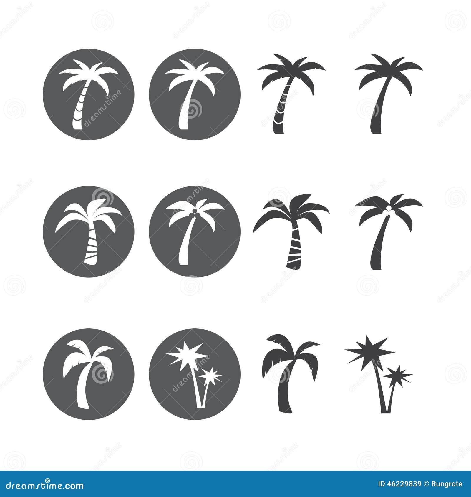 Coconut Tree Circle Icon Set, Vector Eps10 Stock Vector ...