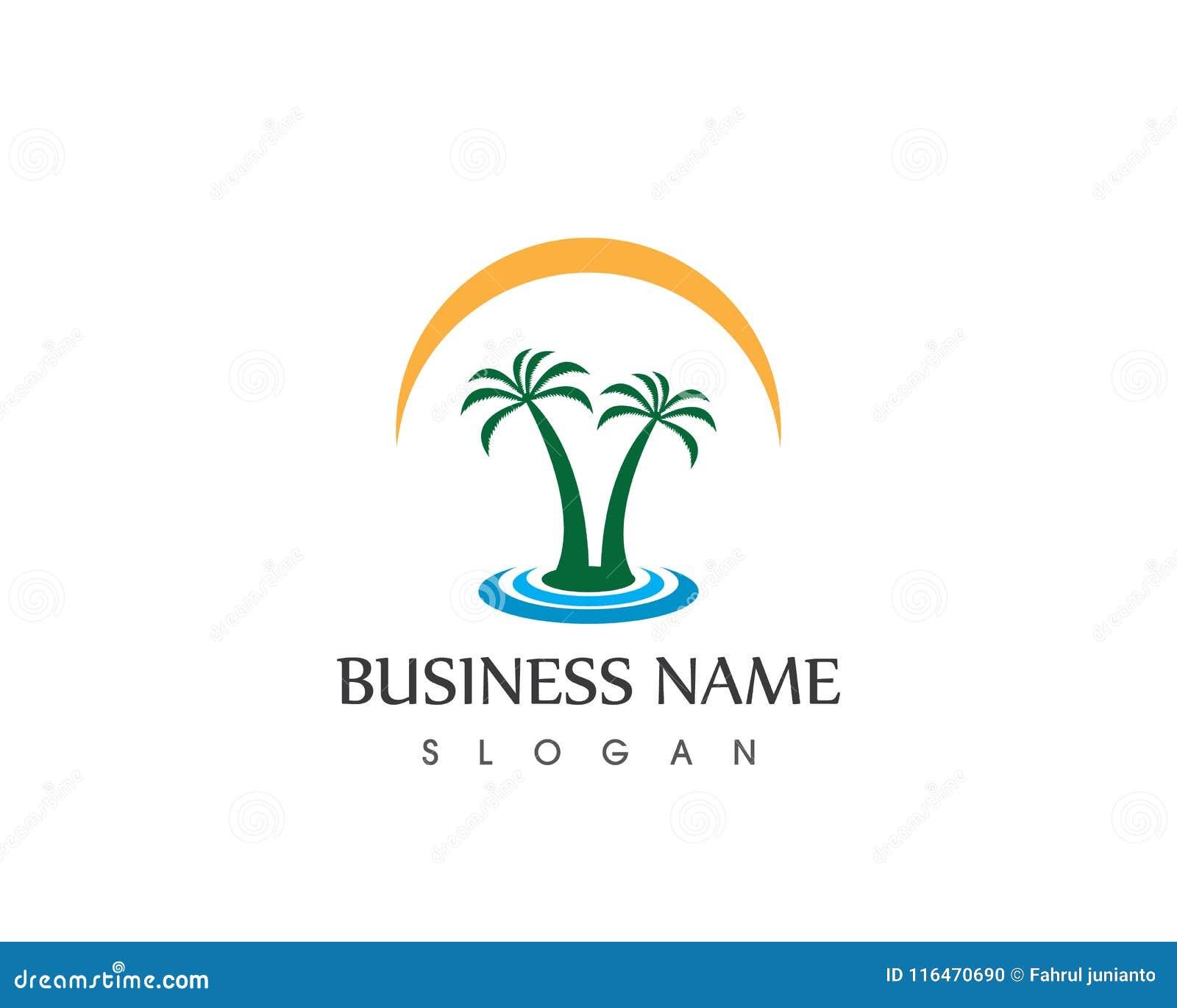 coconut tree logo vector template stock vector illustration of