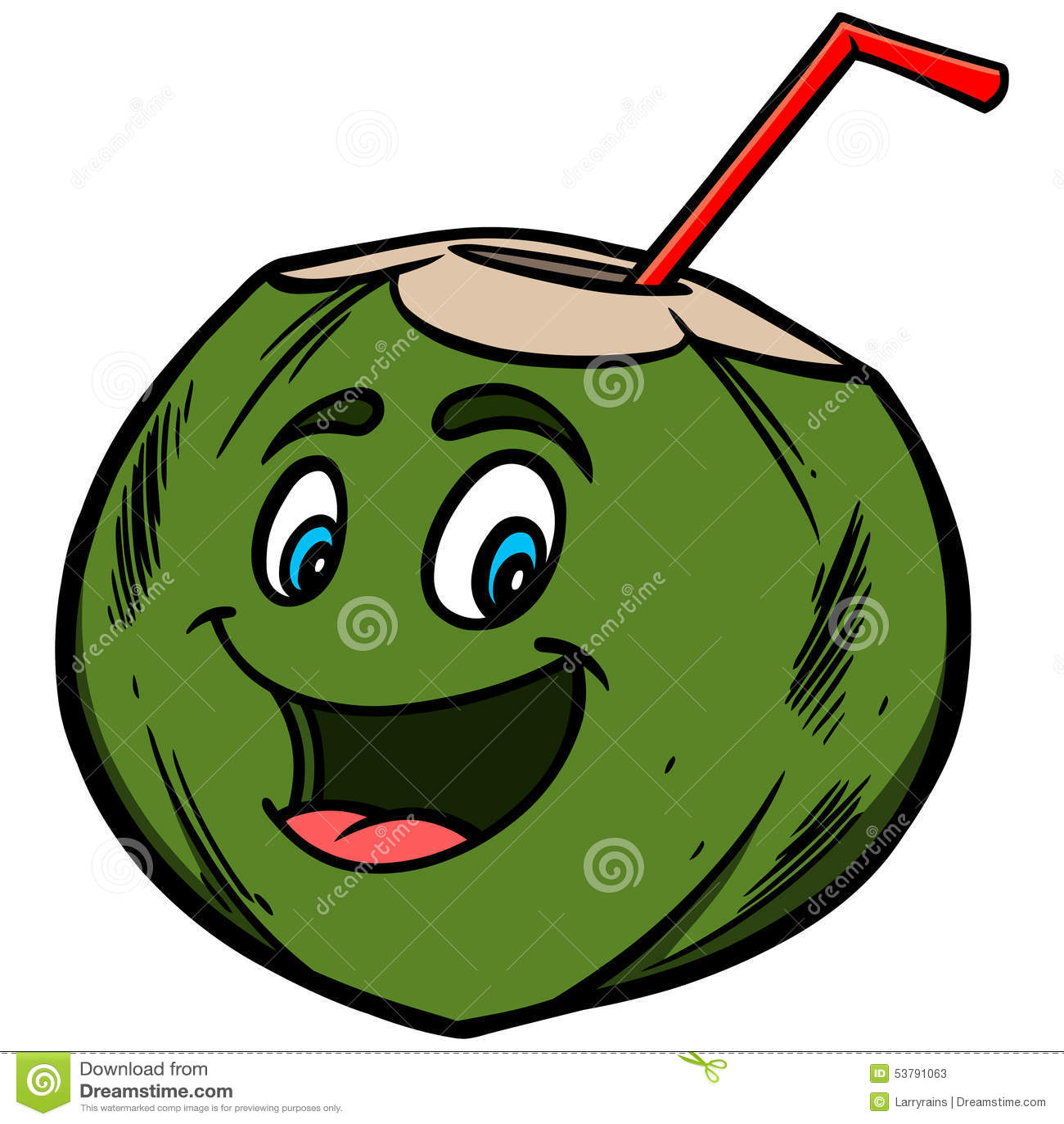 Coconut Water Cartoon Stock Vector - Image: 53791063