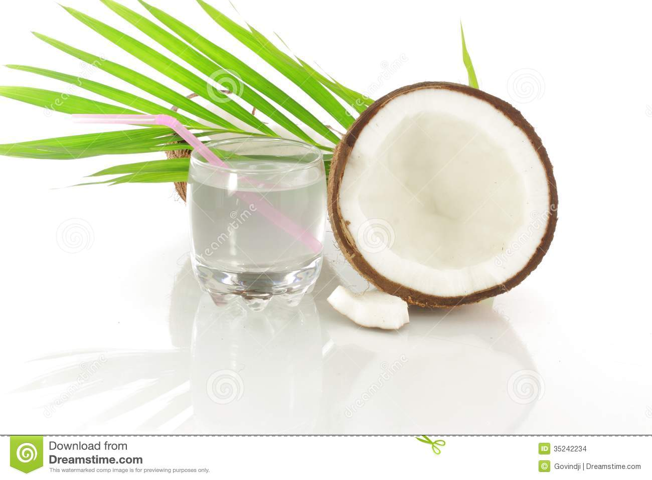 Coconut Water And Cut White Coconut Stock Images Image