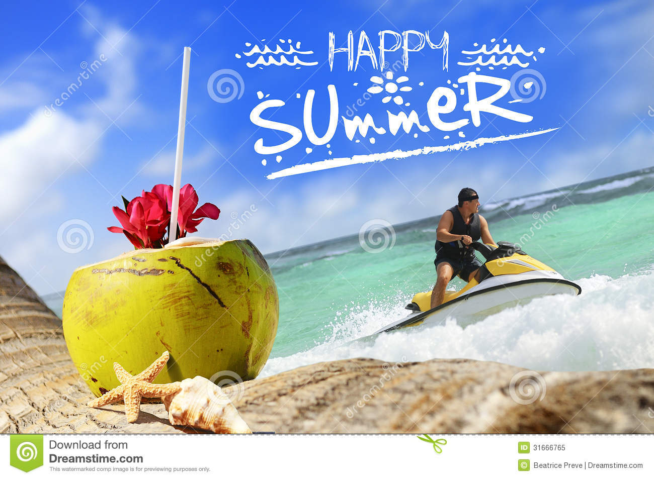 Coconuts And Jetski On The Beach Royalty Free Stock Photo ...
