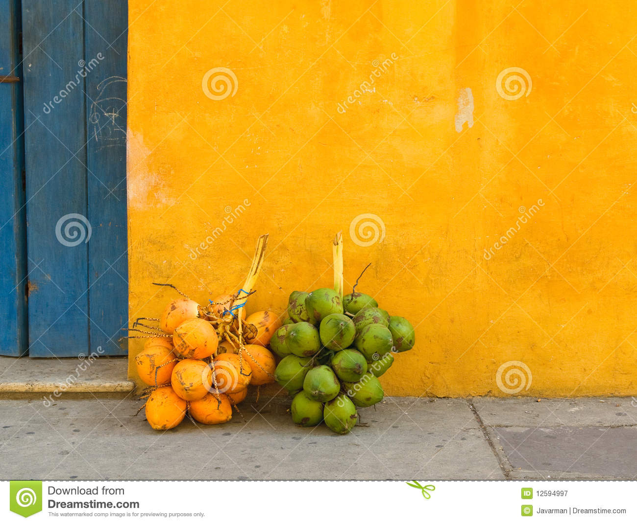 Coconuts In The Street Of Cartagena Colombia Stock Image