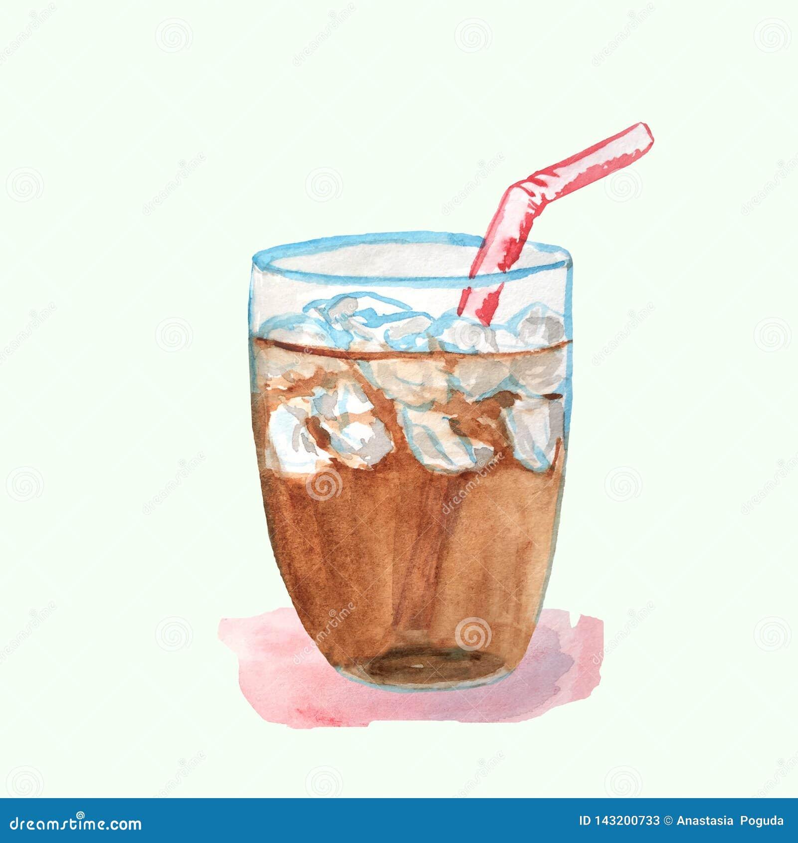 Cocteil med cola i en exponeringsglaskopp med is