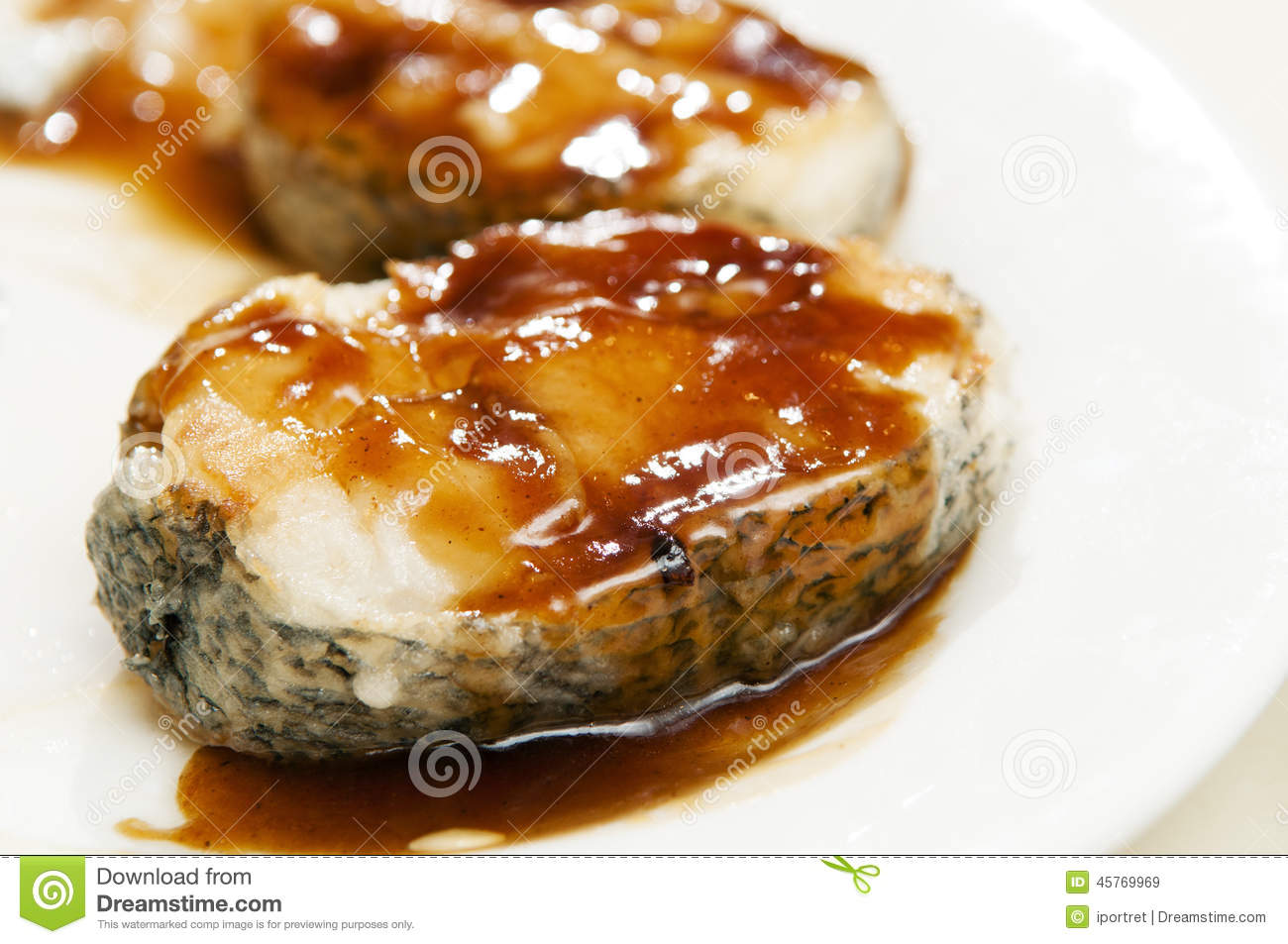Cod fish with sauce stock photo image 45769969 for Sauce for baked fish