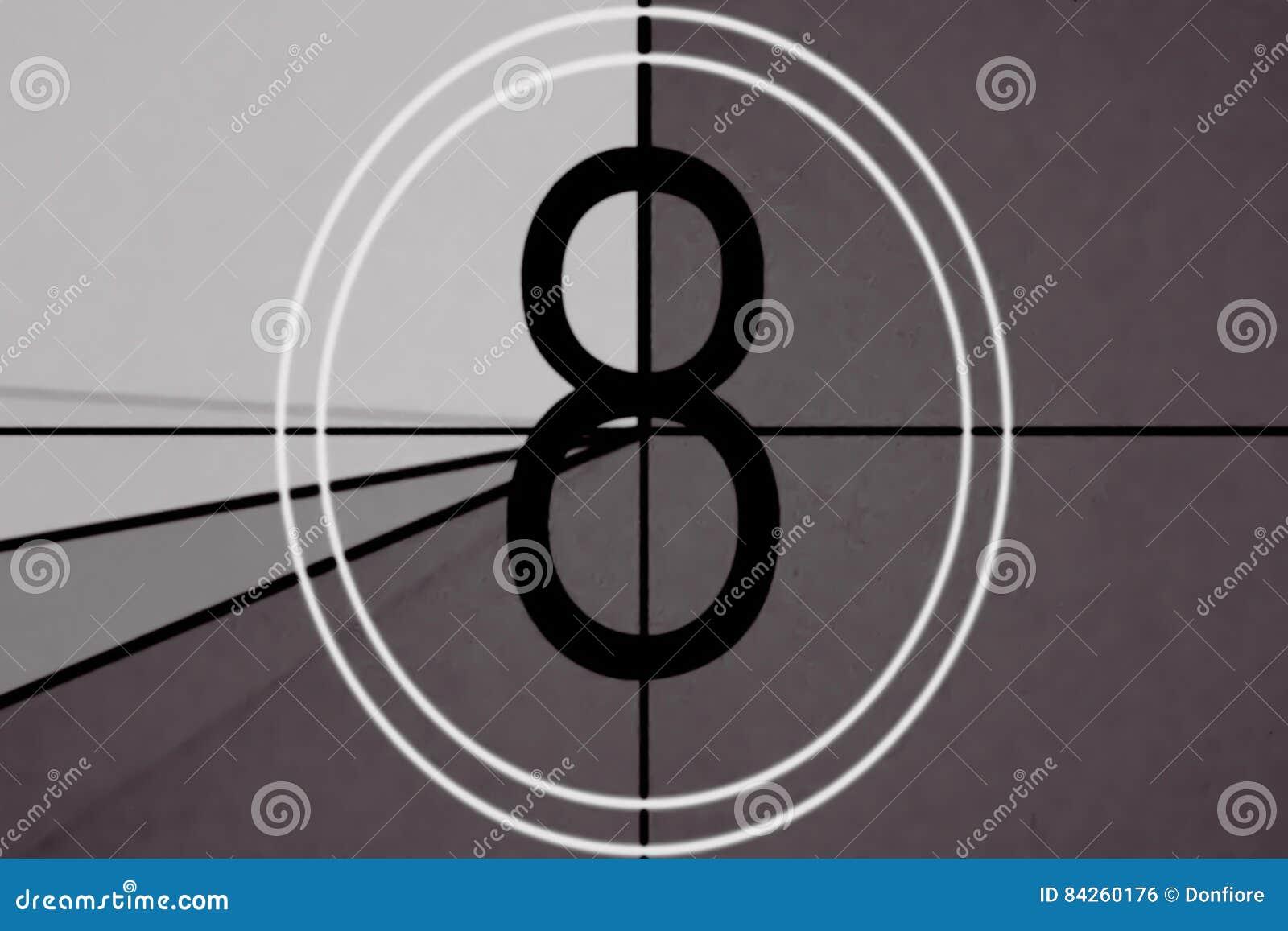 Coda universale, simbolo che conta alla rovescia da 8, con lo schermo di verde di chiave di intensità al finale