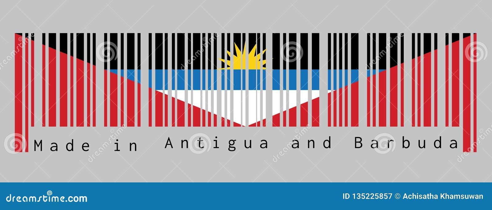 Code barres a placé la couleur du drapeau de l Antigua-et-Barbuda, bleu et blanc noirs, avec deux triangles rouges avec le moitié