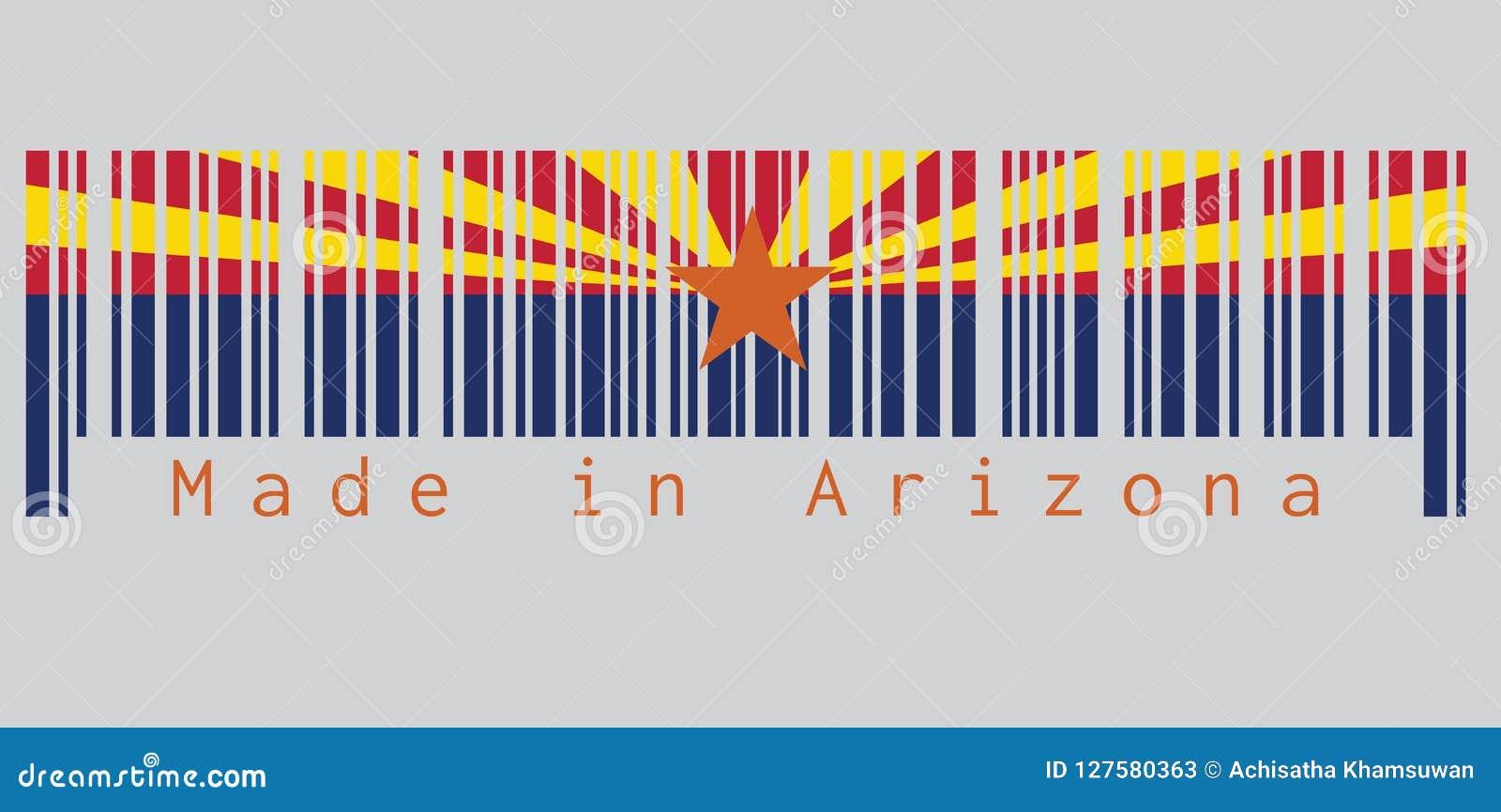 Code barres a placé la couleur du drapeau de l Arizona, les états de l Amérique, rouge et soudure-jaune sur la moitié supérieure
