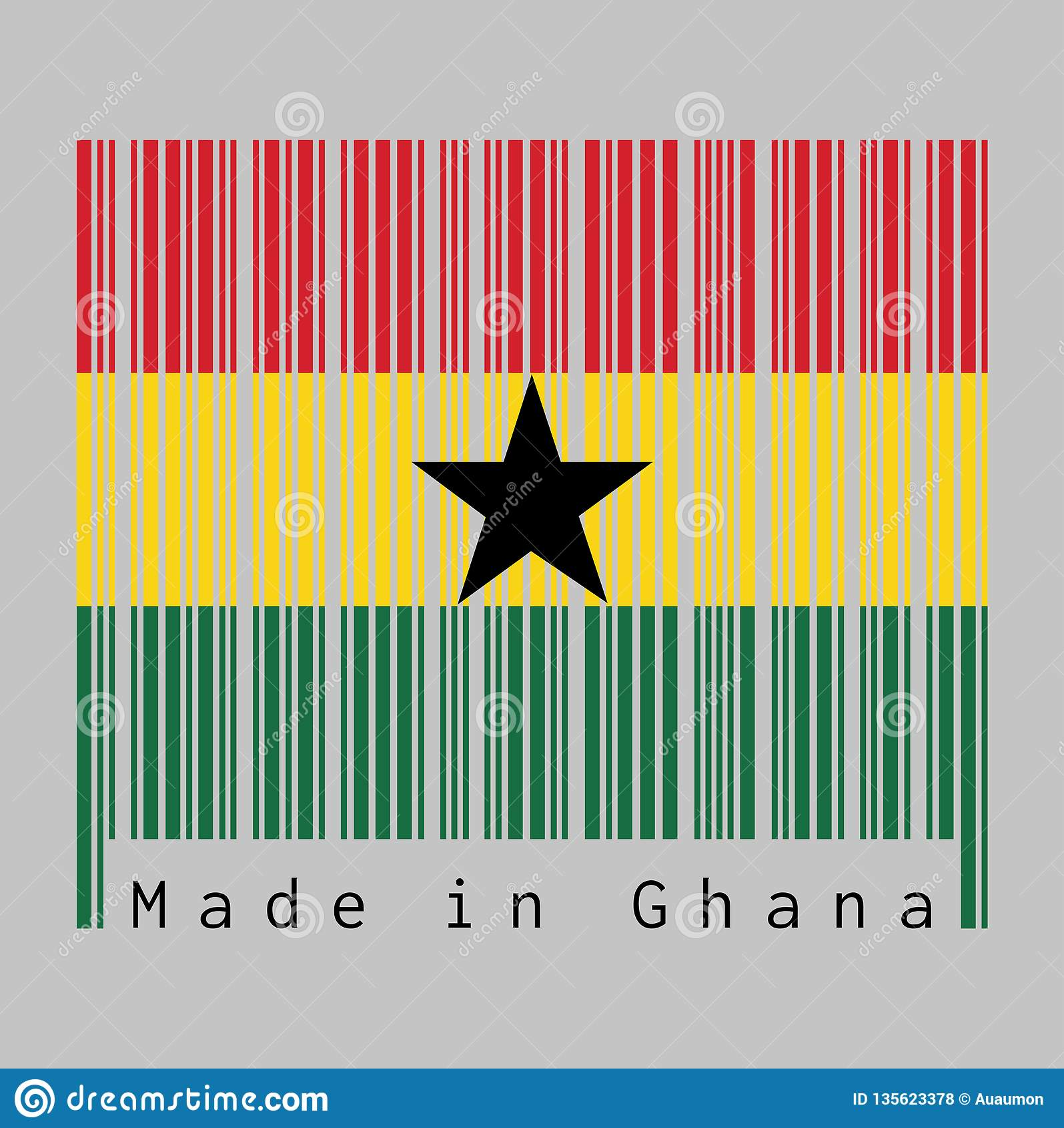 Code Barres A Placé La Couleur Du Drapeau Du Ghana Le