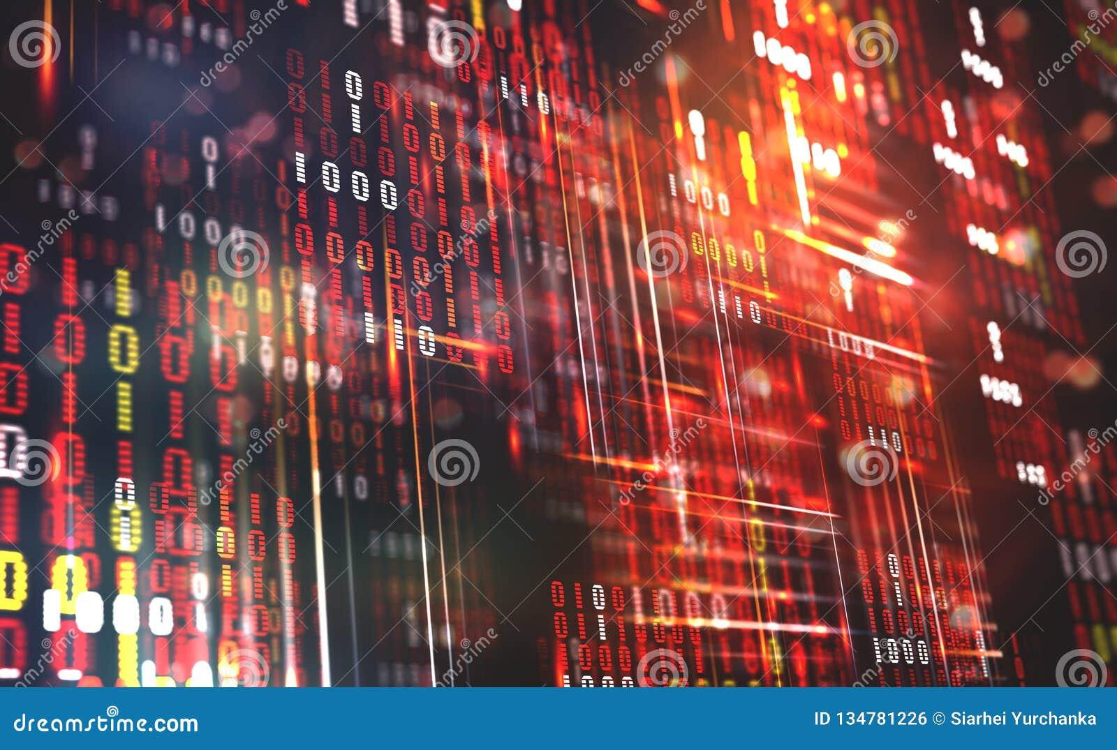 Code binaire abstrait Données de nuage Technologie de Blockchain Cyberespace de Digital Grand concept de données