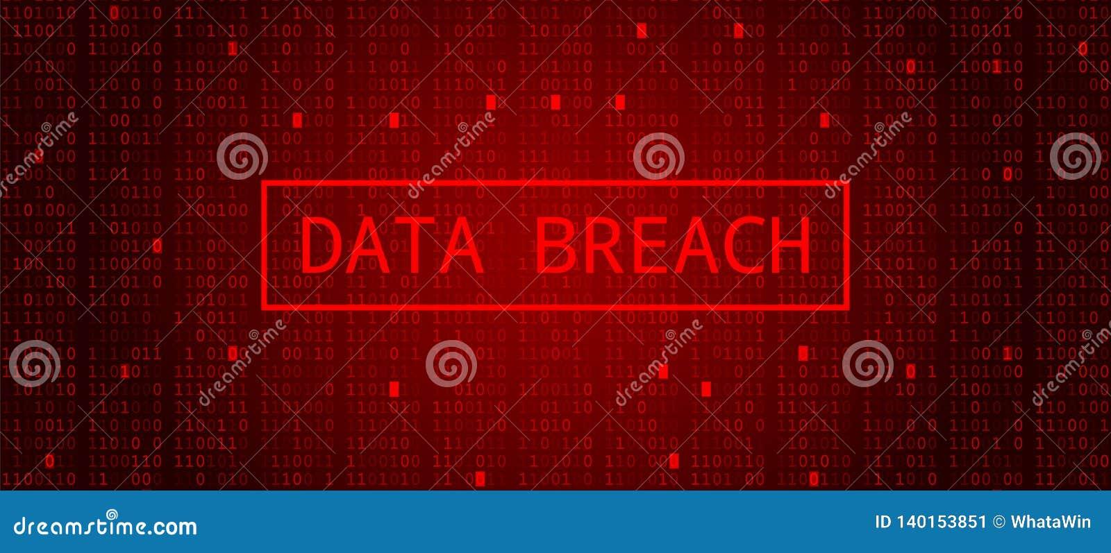 Code binaire de Digital sur la BG rouge foncé Infraction de données