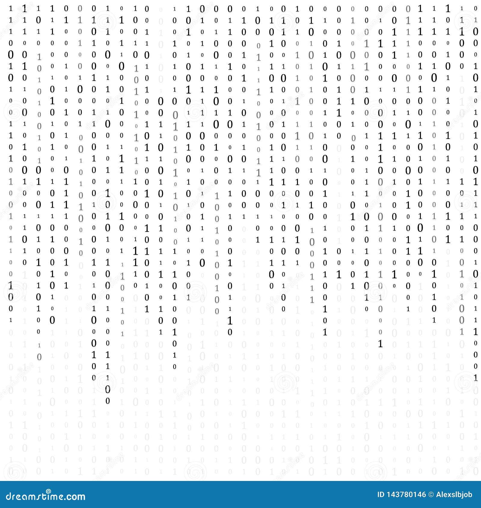 Code binaire z?ro un fond de blanc de matrice banni?re, mod?le, papier peint Illustration de vecteur