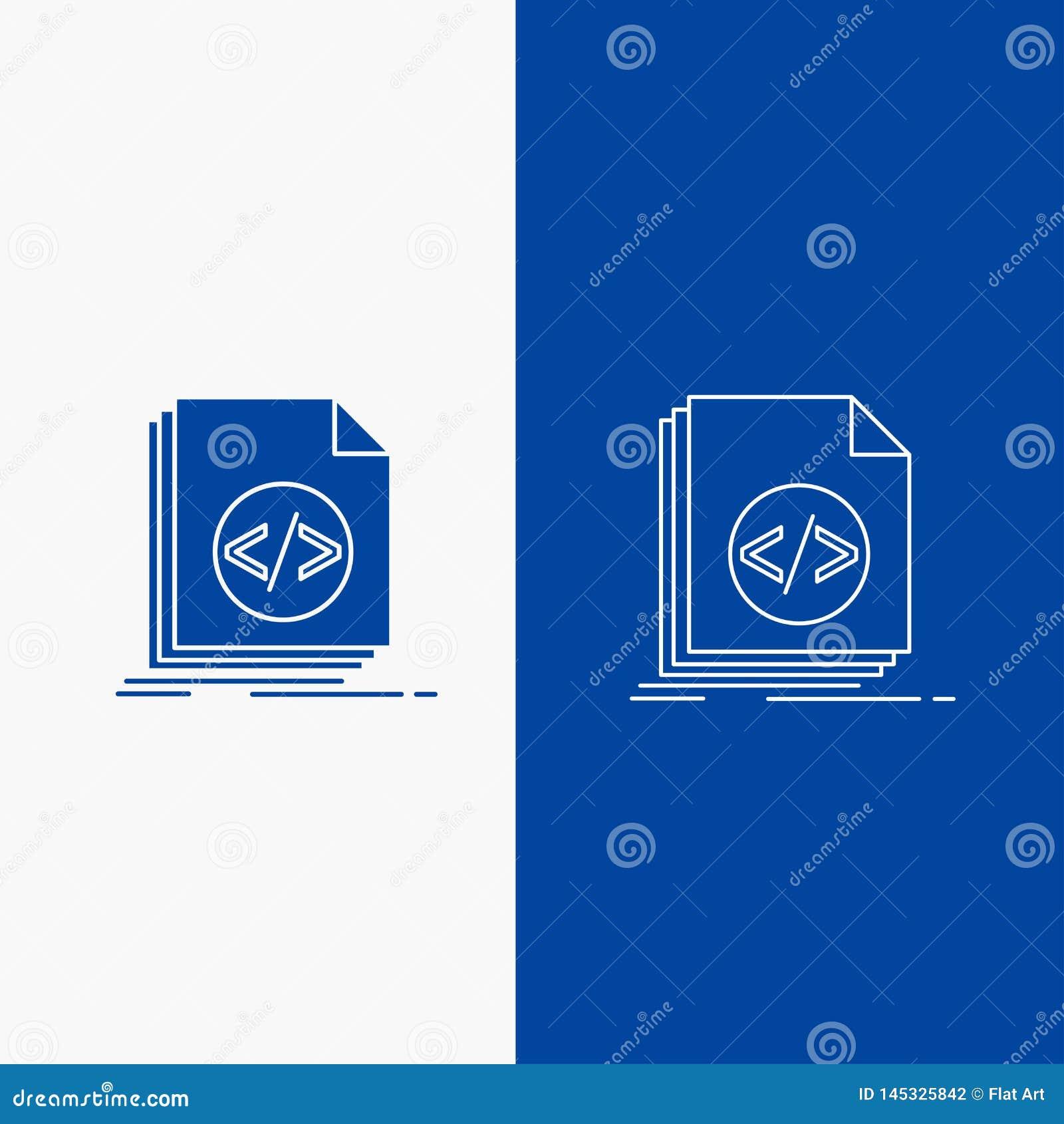 Code, codage, dossier, programmering, manuscriptlijn en Glyph-Webknoop in Blauwe kleuren Verticale Banner voor UI en UX, website
