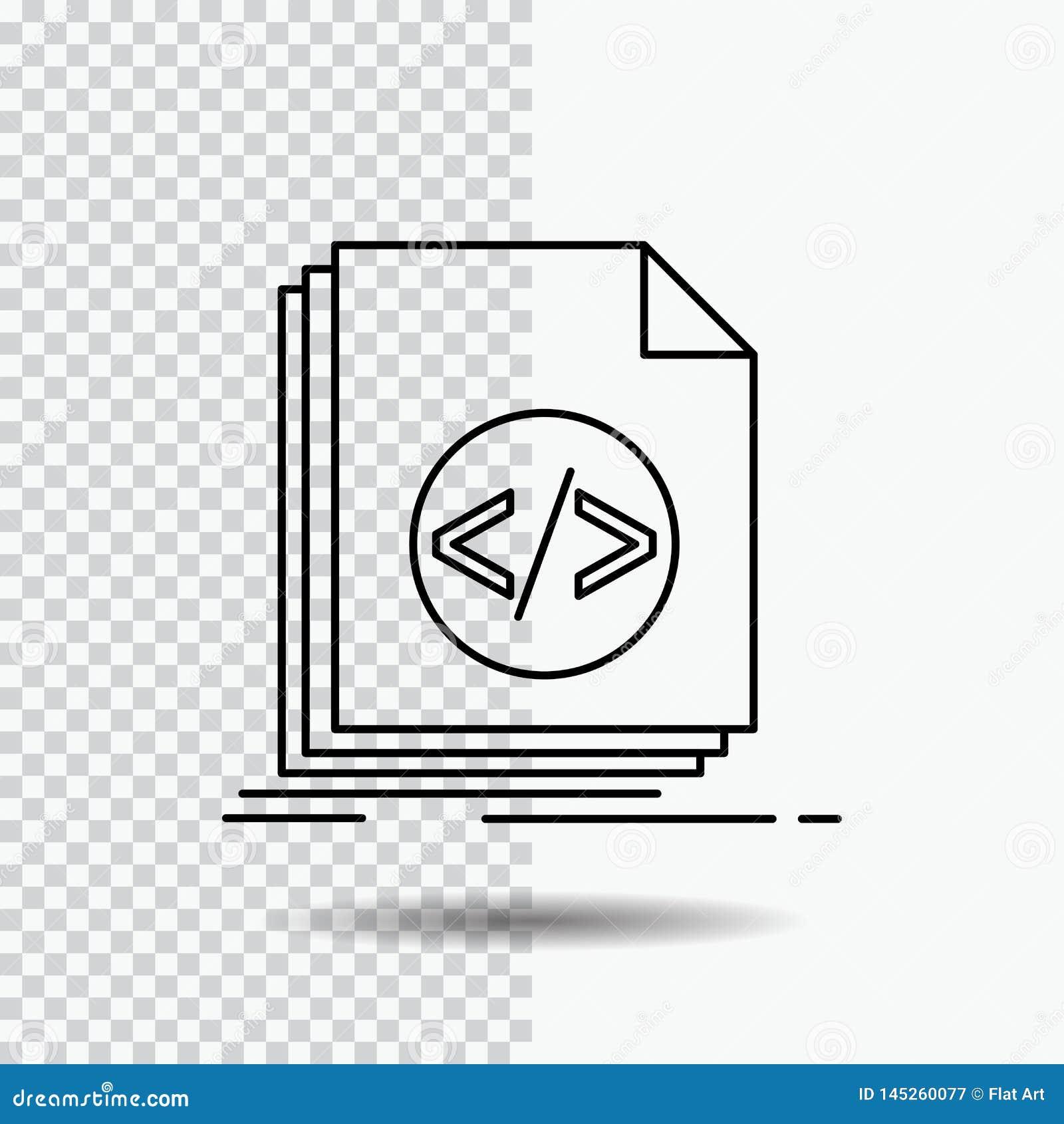Code, coding, file, programming, script Line Icon on Transparent Background. Black Icon Vector Illustration