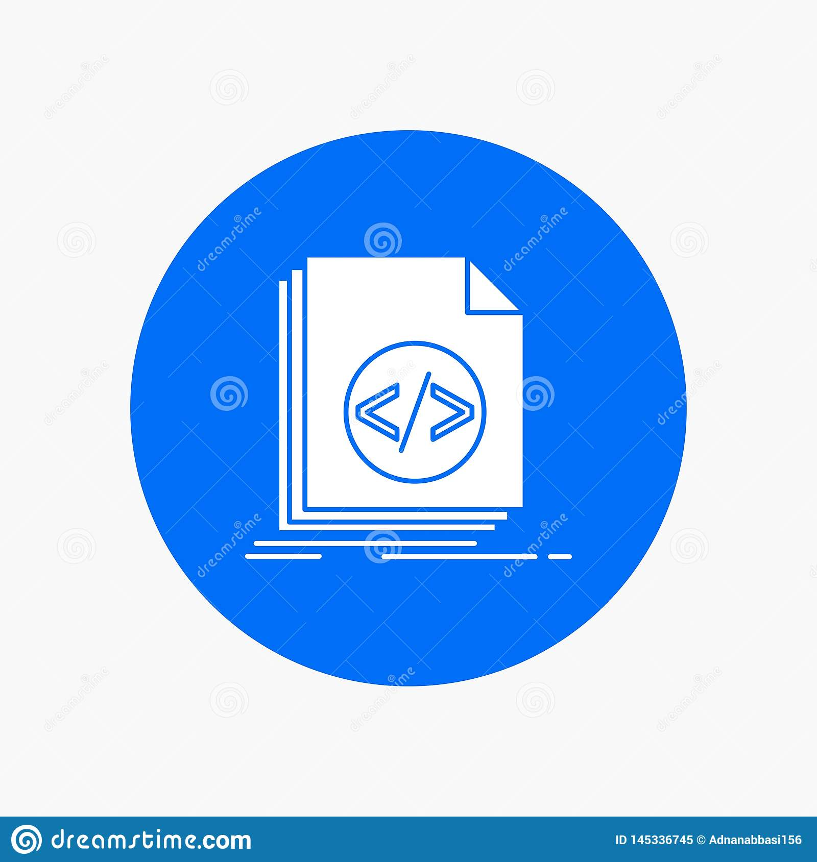 Code, coding, file, programming, script White Glyph Icon in Circle. Vector Button illustration