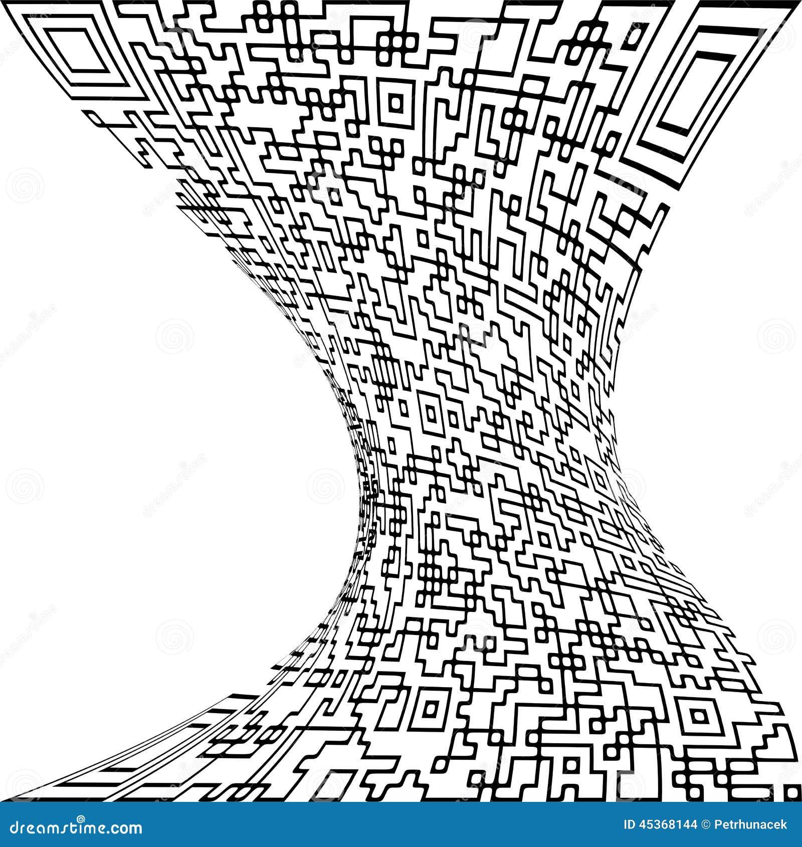 Code de QR déformé par illustration