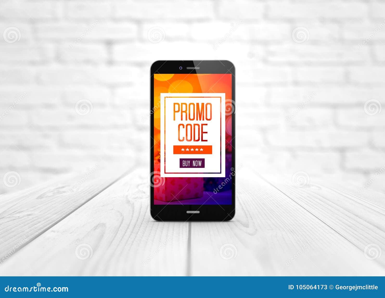 Code futé de promo de téléphone au-dessus de table en bois