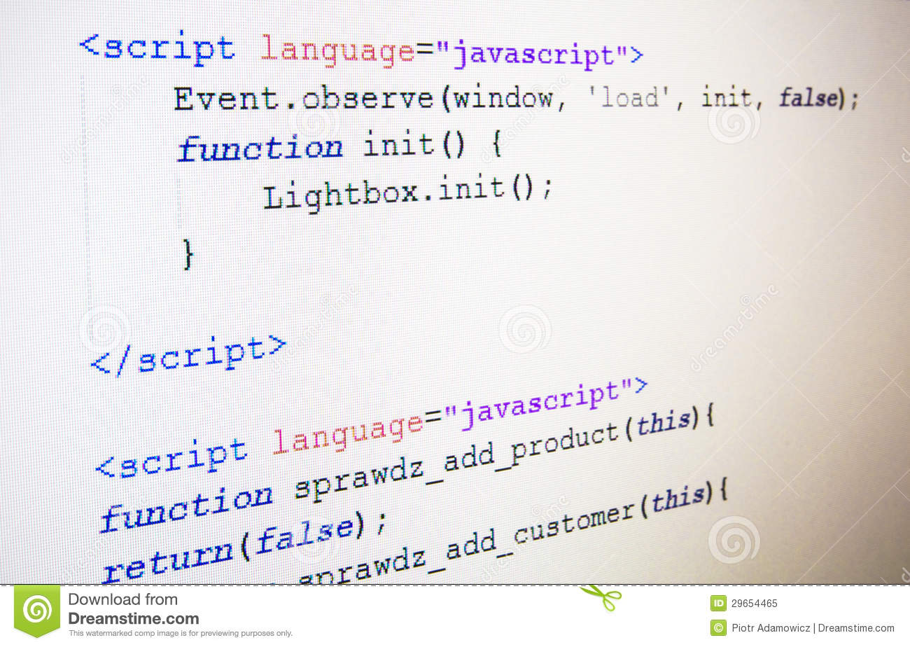 Code Of JavaScript Language Royalty Free Stock Photo - Image: 29654465