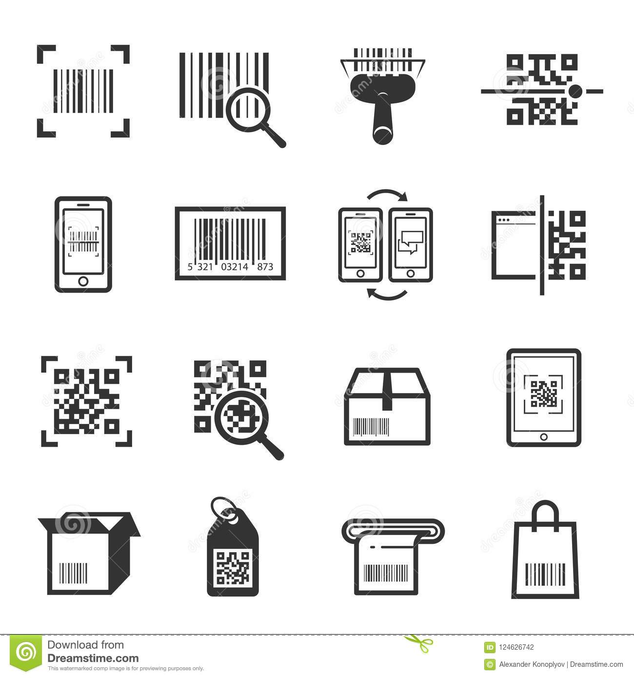 Code Scanning Icon Set Isolated From Background Stock Vector