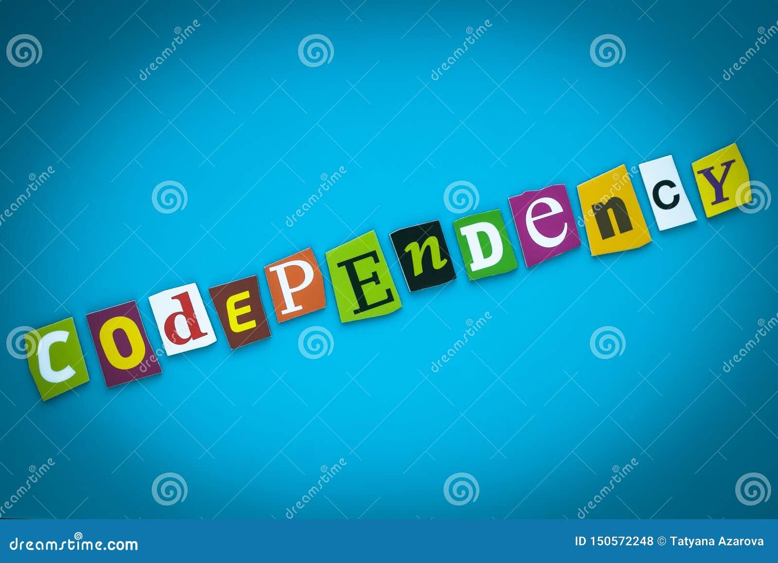 Codependency - palabra en fondo azul de letras coloridas Tarjeta abstracta con una inscripción Texto, título, subtítulo, título