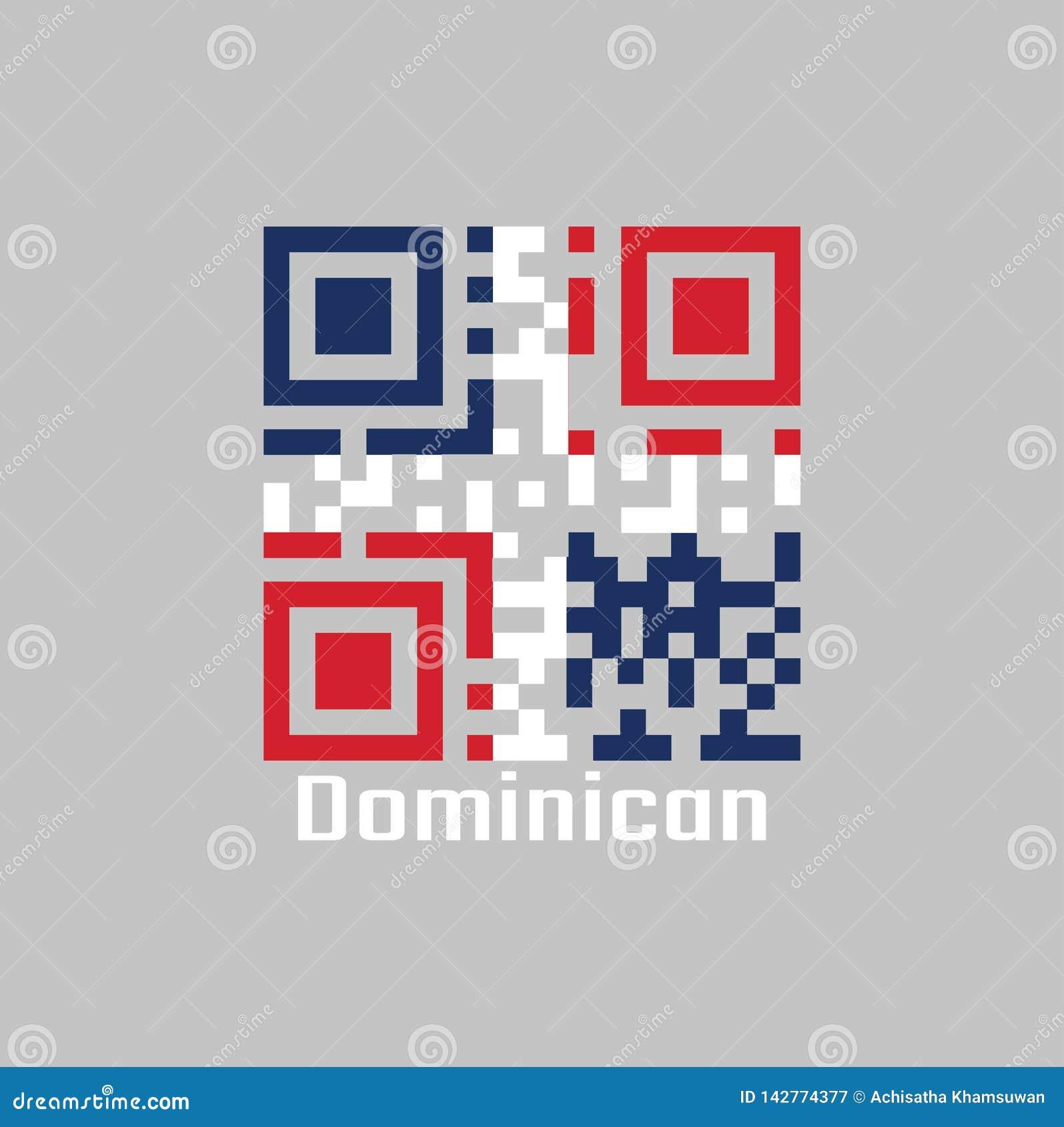 Codes de QR la couleur du drapeau dominicain Une croix blanche dans quatre rectangles, bleu et rouge au supérieur et rouge et bl