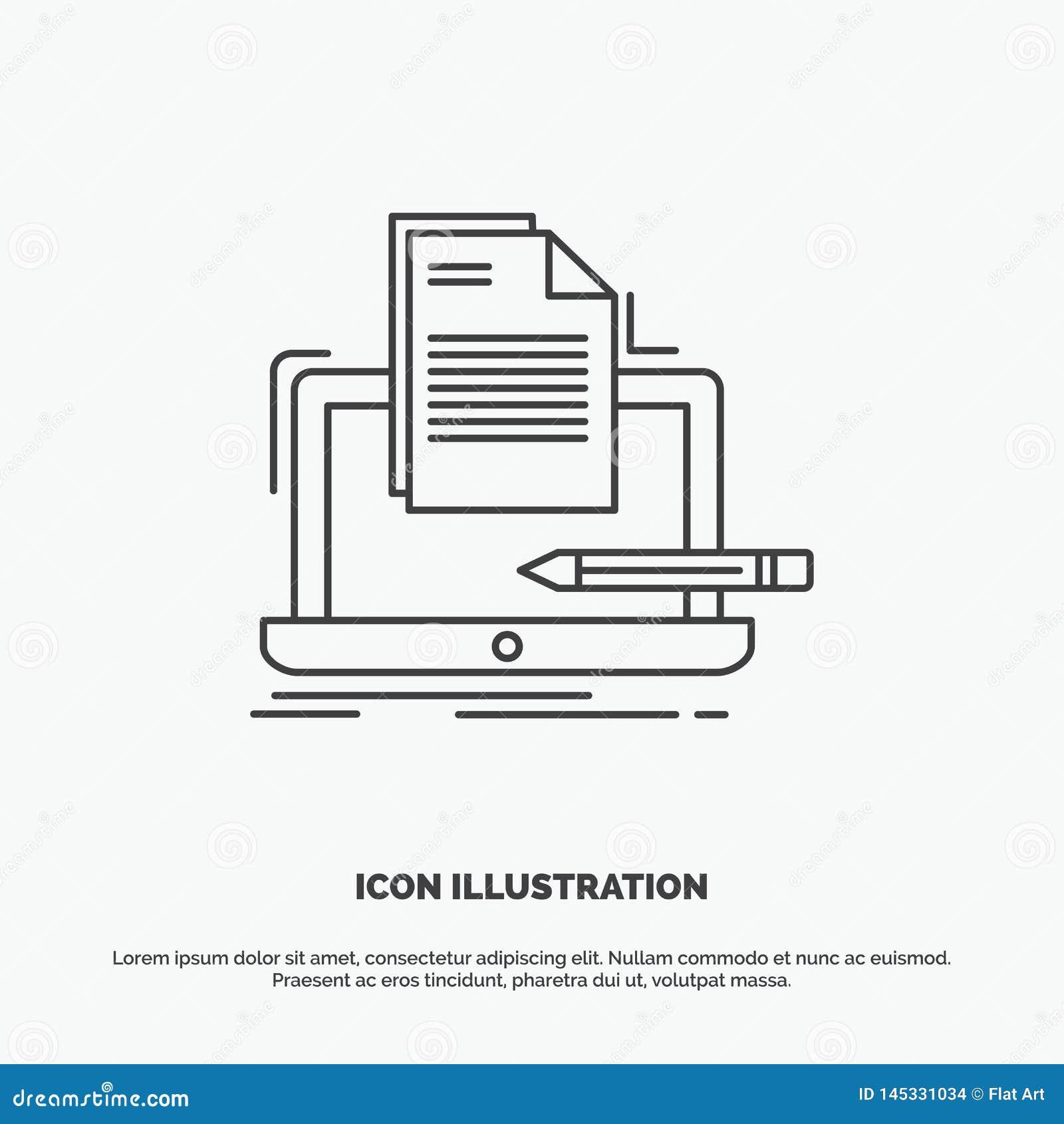 Codeur, codage, computer, lijst, document Pictogram Lijn vector grijs symbool voor UI en UX, website of mobiele toepassing