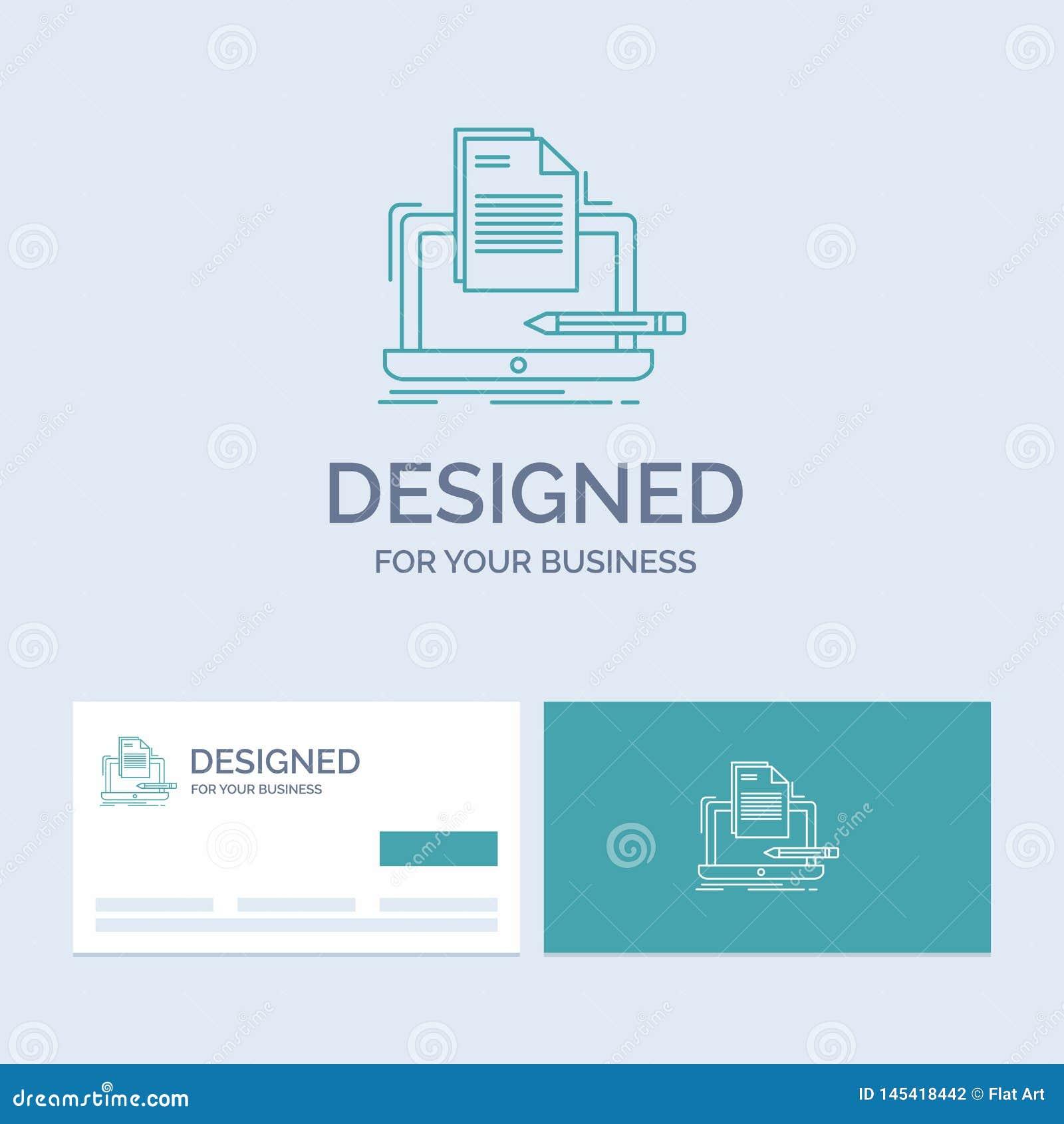 Codeur, codage, computer, lijst, document Zaken Logo Line Icon Symbol voor uw zaken Turkooise Visitekaartjes met Merkembleem