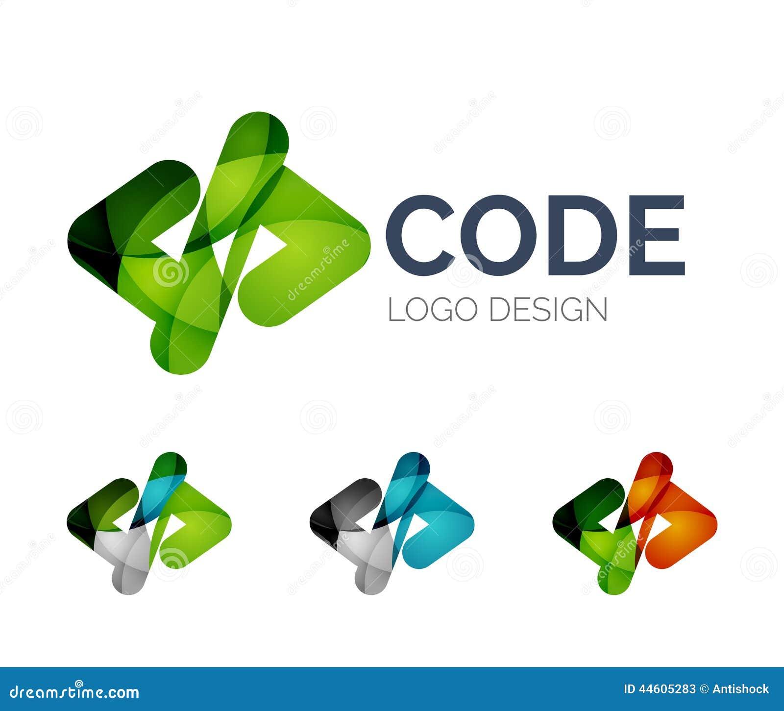Codez la conception de logo d icône faite de morceaux de couleur