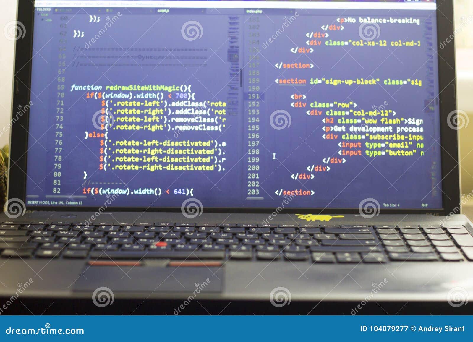 Codice a fine frontale del HTML e di Javascript Codice sorgente di programmazione