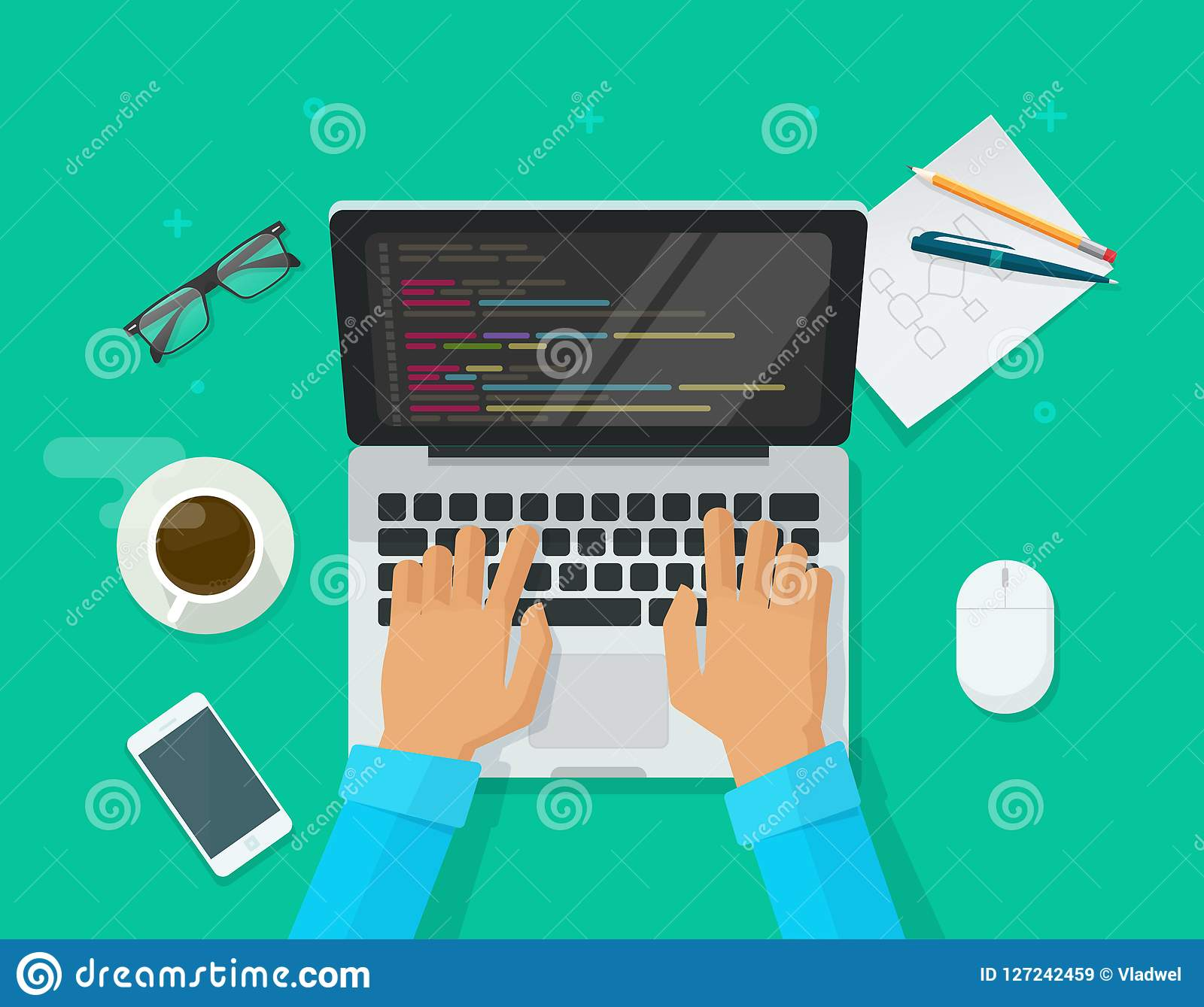 Codificação do programador no laptop na ilustração do vetor da mesa do trabalho, freelancer liso dos desenhos animados que senta-