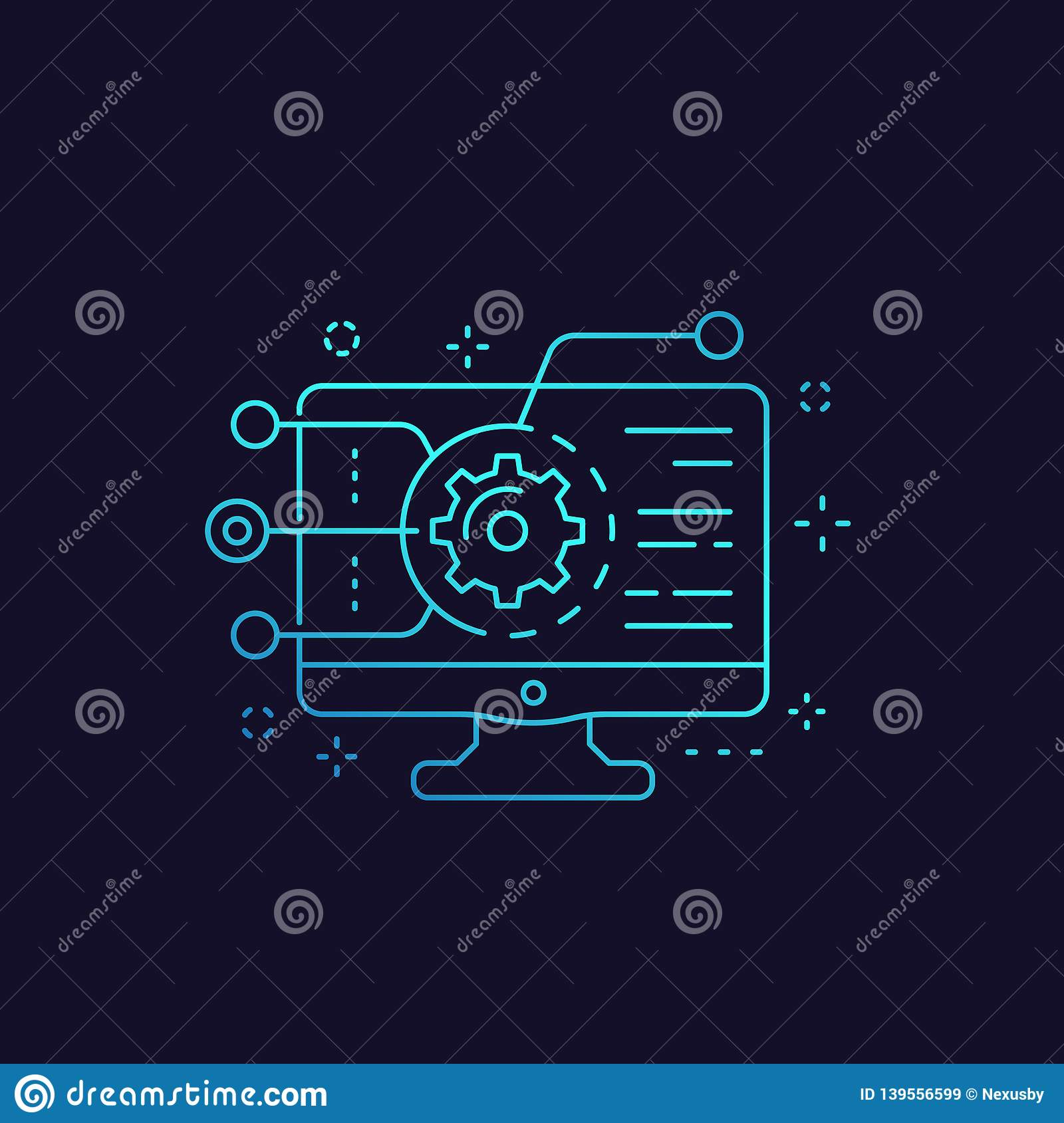 Codificação, programação de software, ícone da integração do app