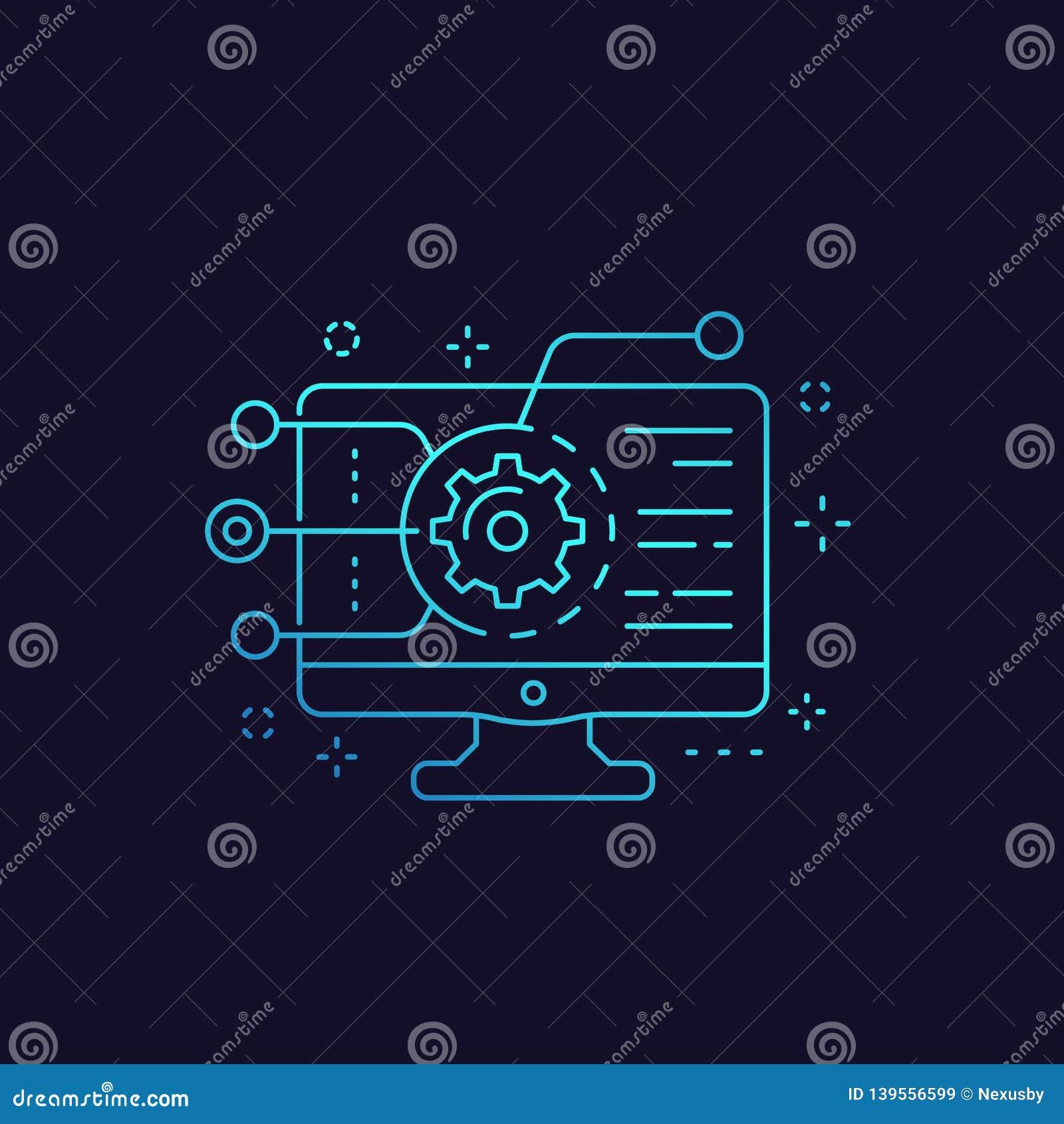 Codificación, desarrollo de programas, icono de la integración del app