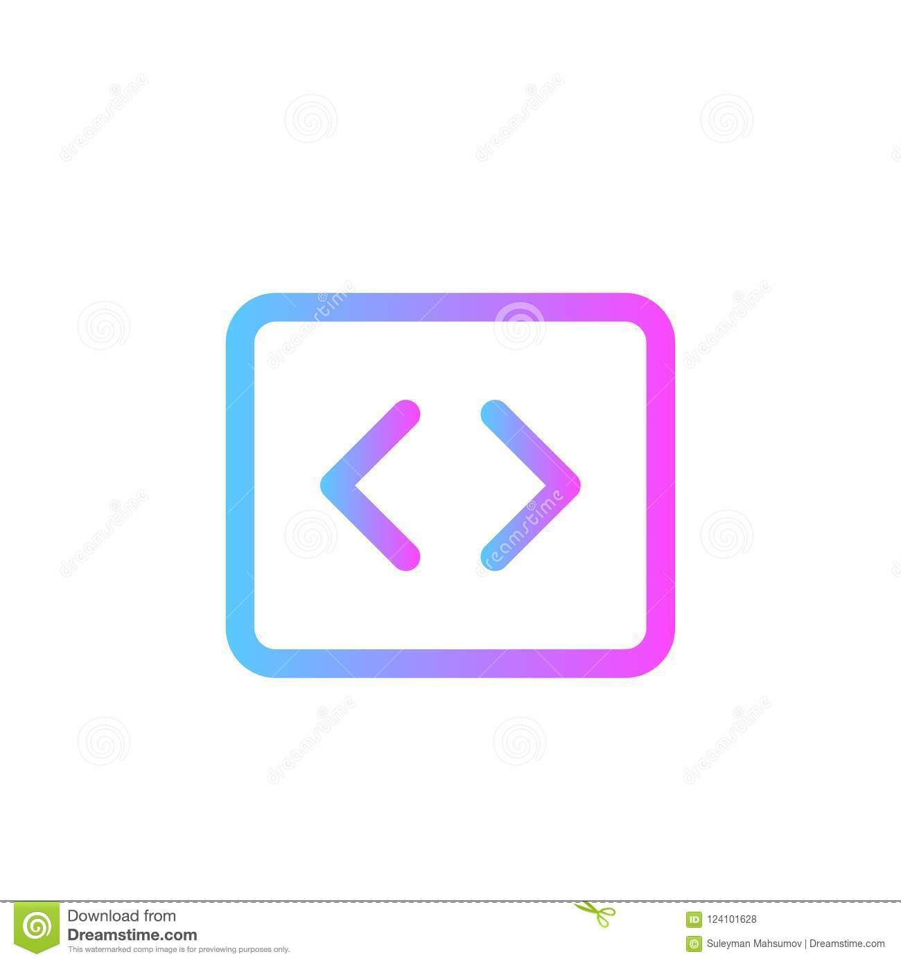 Coding Vector Icon Sign Symbol Stock Vector Illustration Of Html