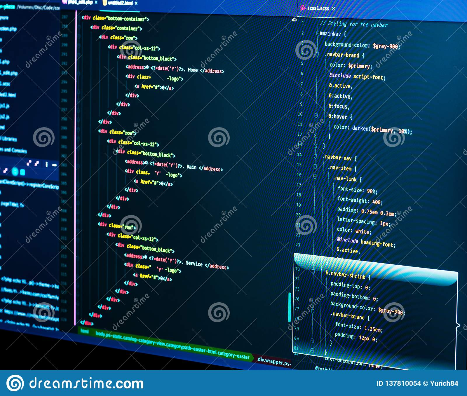 Coding Html And Css In Ide Macro Web Development Software Source Code Stock Photo Image Of Code Screen 137810054