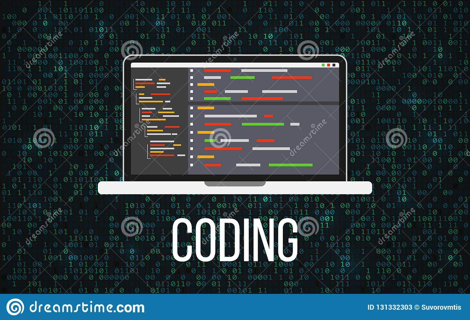 Coding laptop concept on binary background. Programming desktop and matrix backdrop. Monitor with program code. Mobile