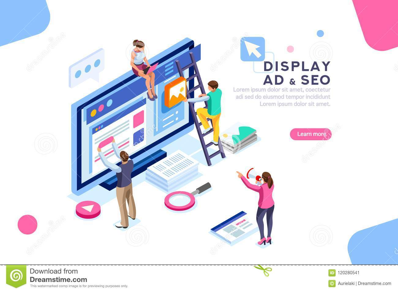 Display Campaign Coding People Flat Isometric Banner