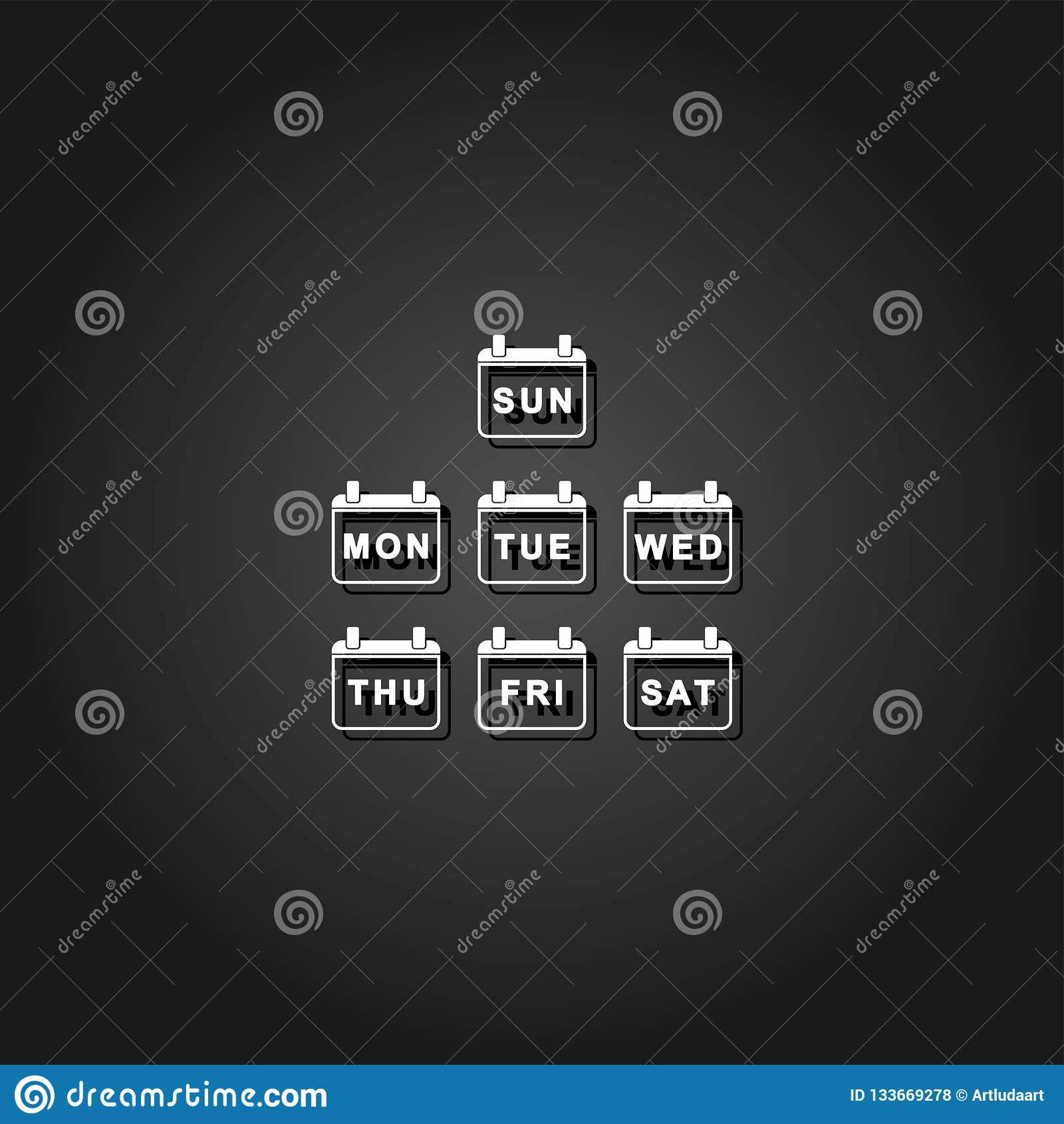 Codziennie tydzień ikony Kalendarzowy mieszkanie