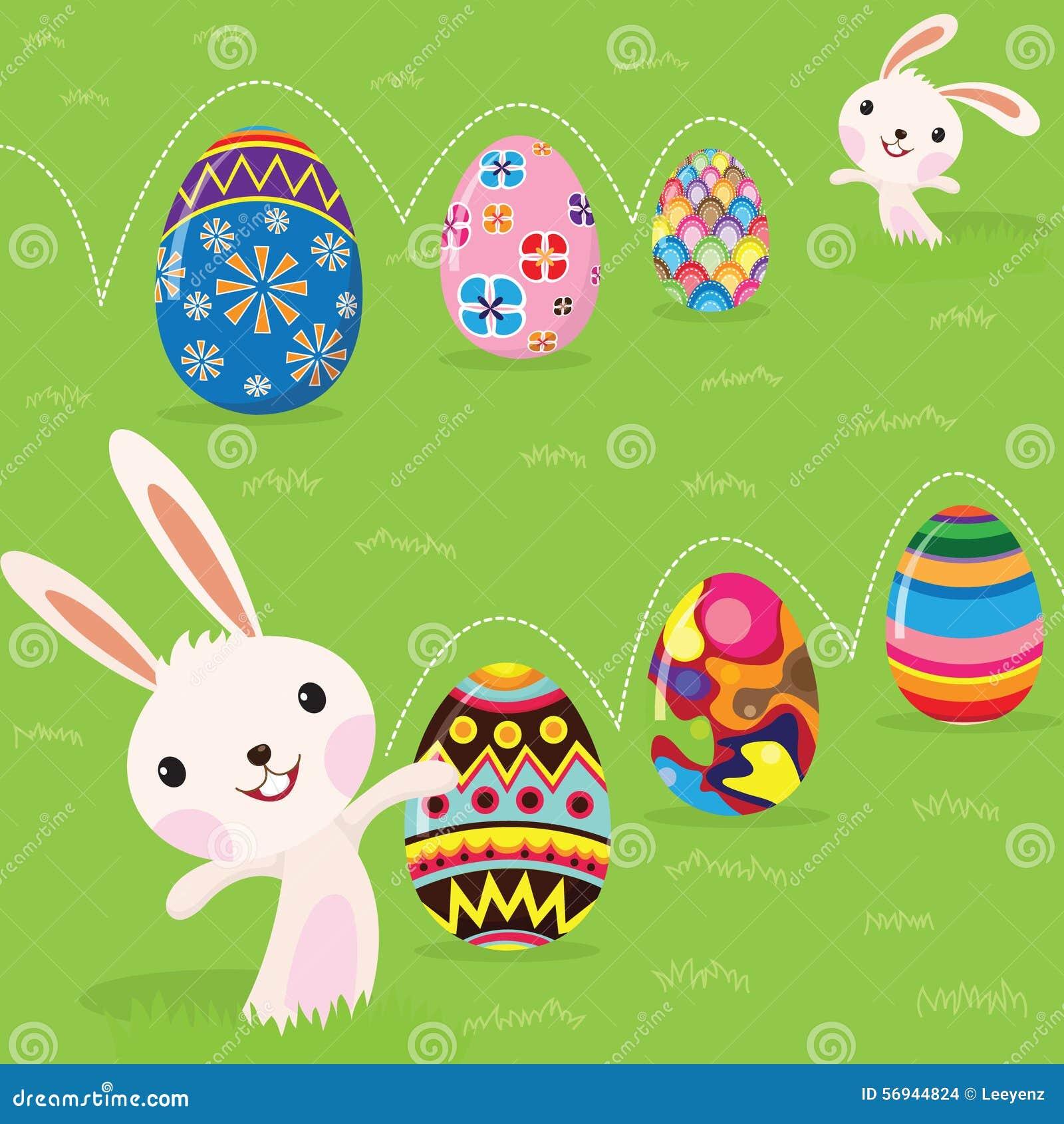 Coelhinho da Páscoa brincalhão com ovos pintados