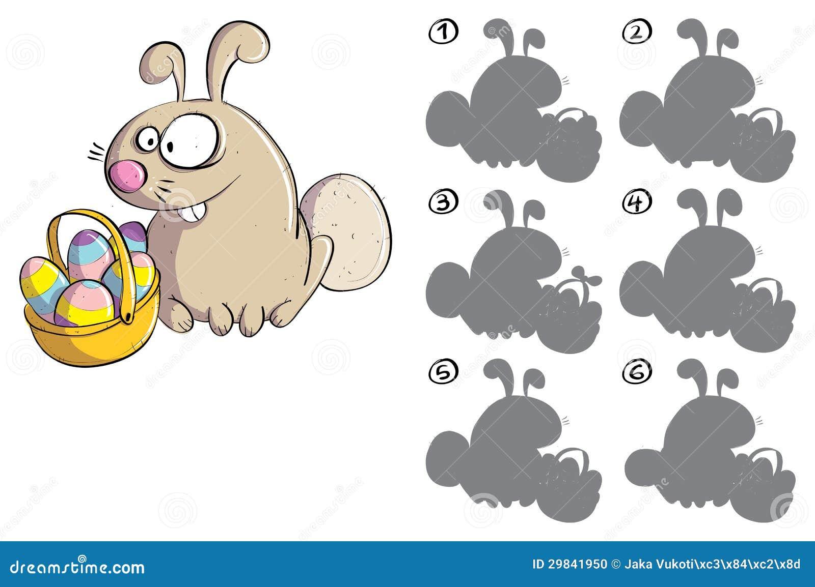 Coelhinho da Páscoa com jogo do Visual da imagem invertida dos ovos