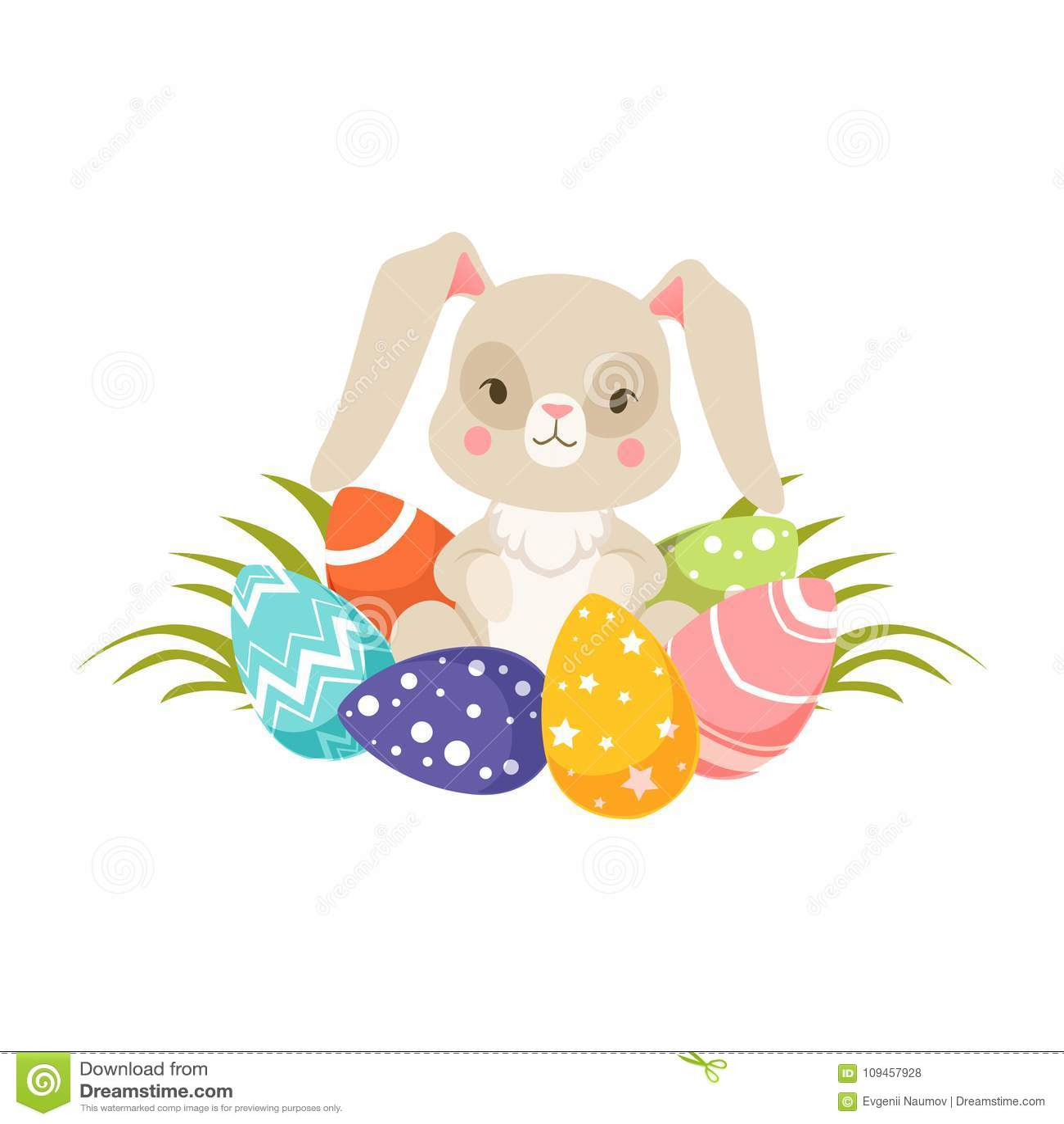 Coelhinho Da Pascoa Com Ovos Coloridos Carater Engracado Do