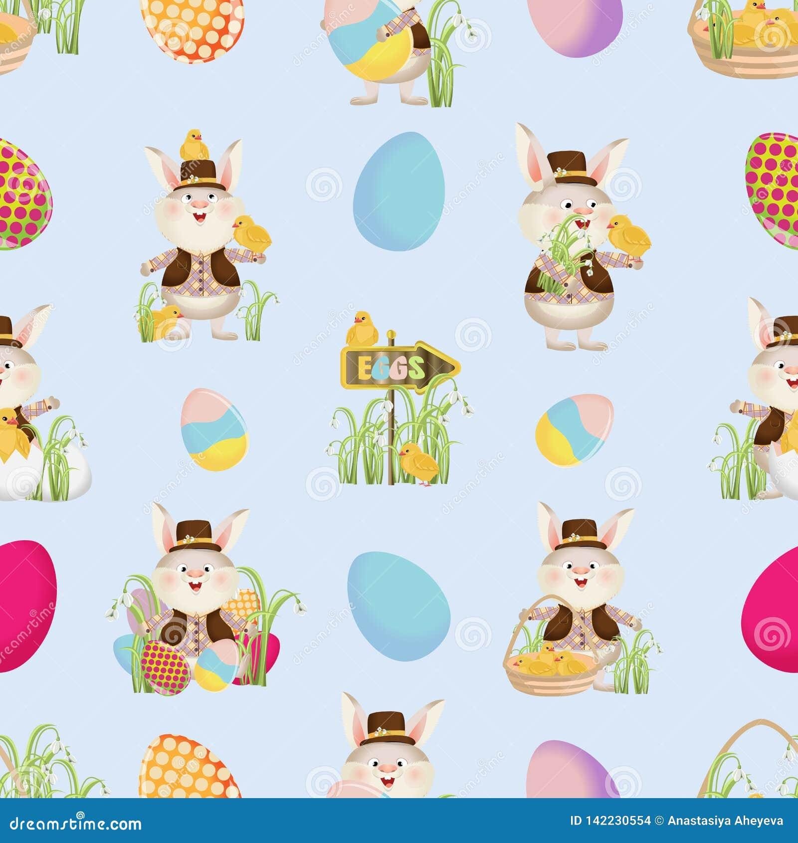 Coelhinhos da Páscoa nas camisas, as vestes e os chapéus, as galinhas, os ovos, os ponteiros e a grama Teste padrão sem emenda