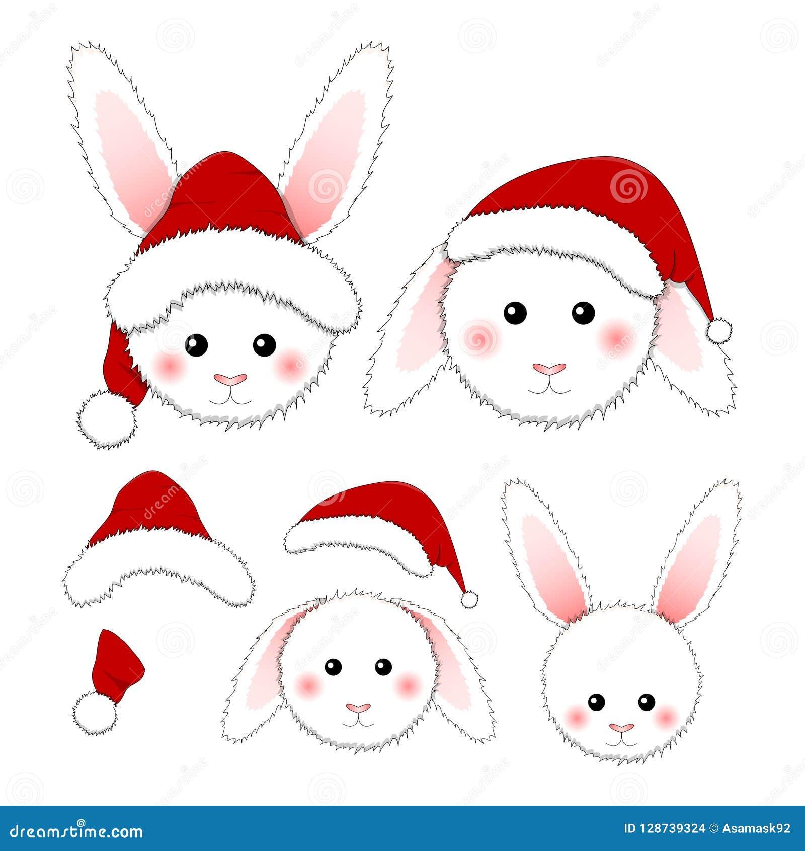 Coelho branco Santa Claus isolada no fundo branco Ilustração do vetor
